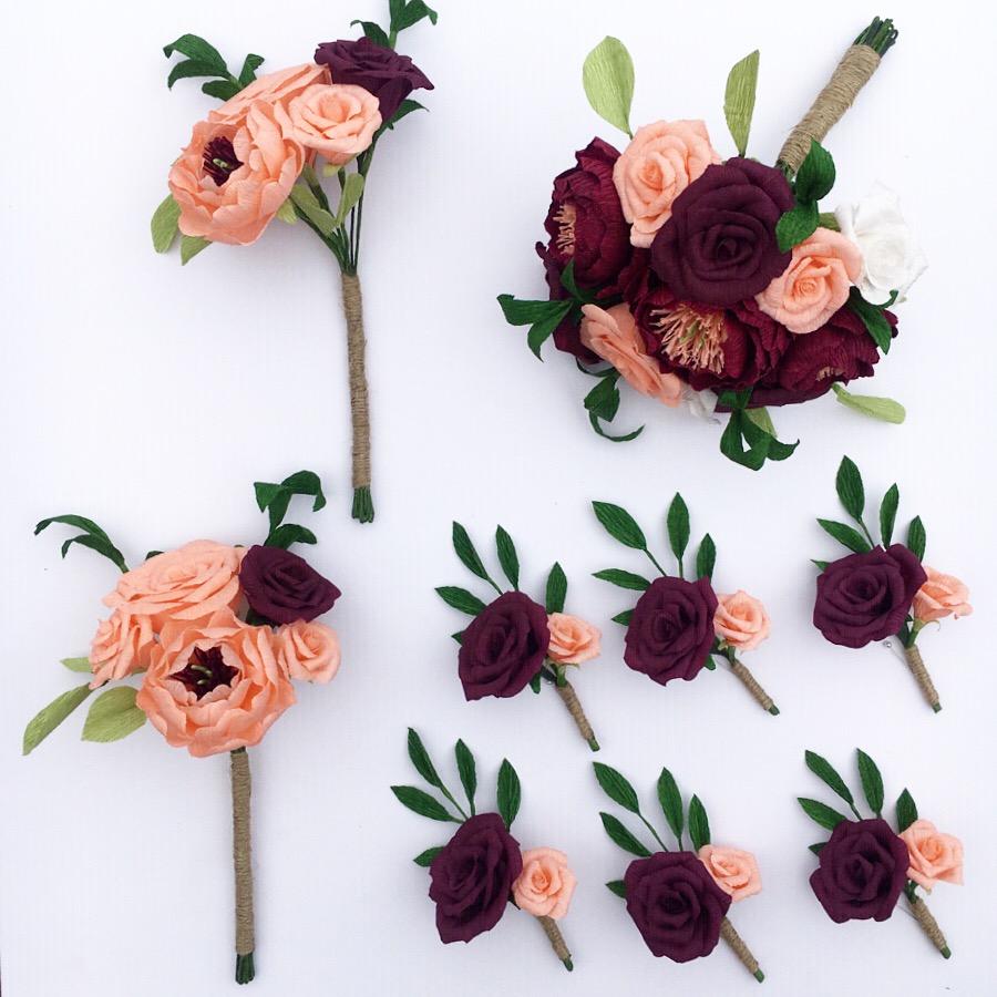 paper flowers, bouquet, buttonholes, bridesmaid bouquet, bride bouquet, wedding paper flowers