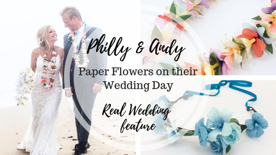 real wedding, paper flowers, wedding flowers, flower crown, paper bouquet