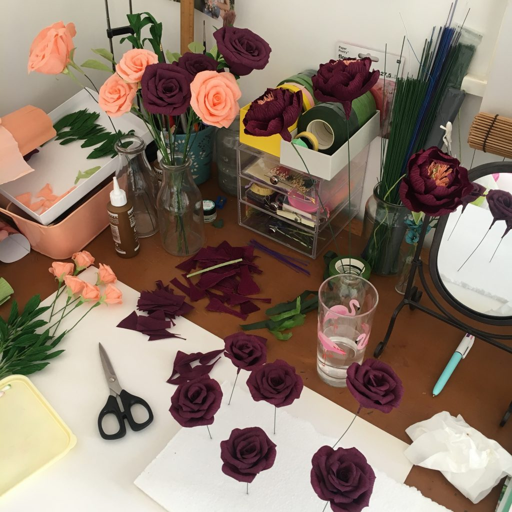 real wedding, paper bouquet, paper flowers, paper wedding flowers