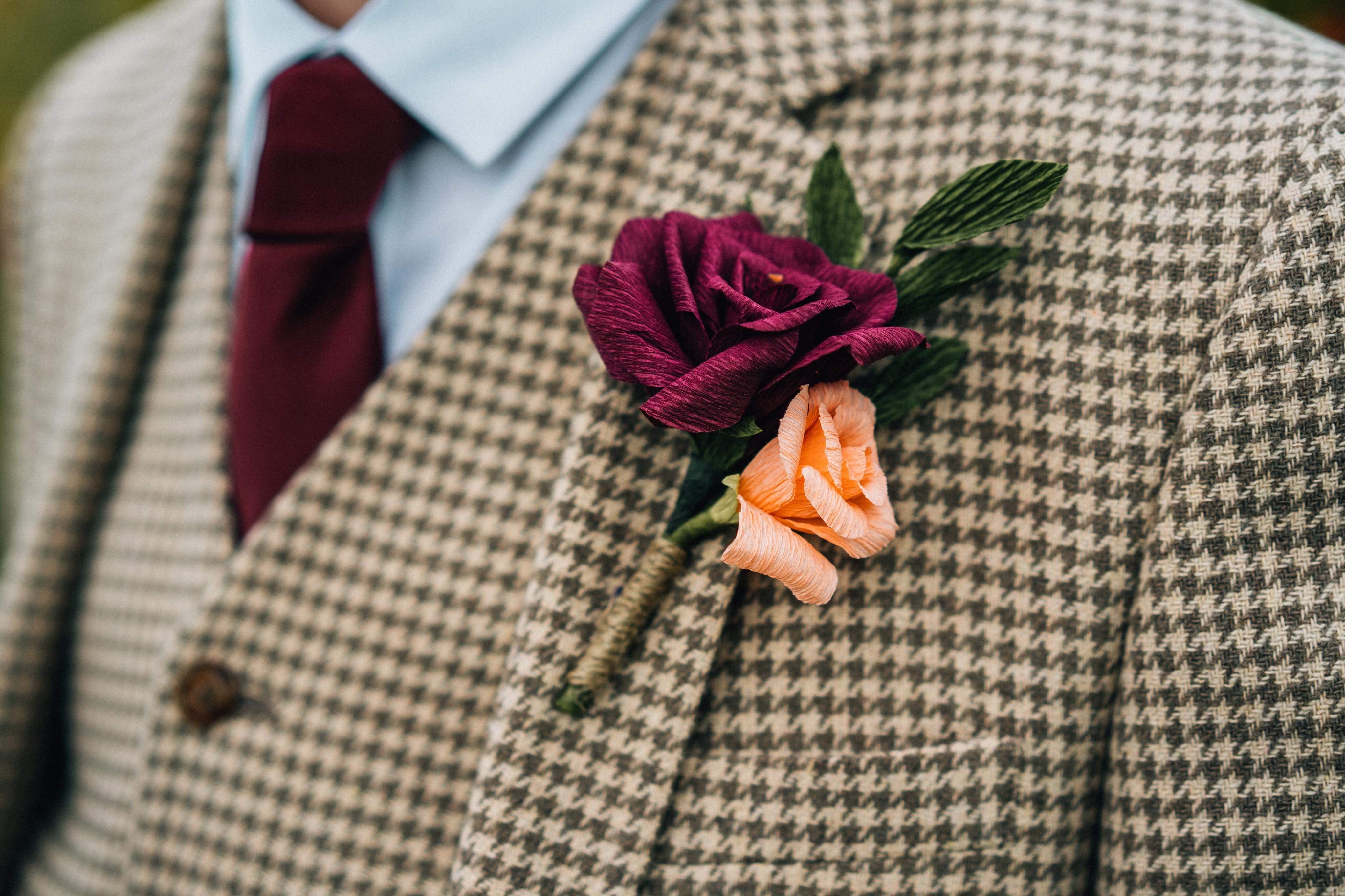 paper buttonhole, real wedding, paper bouquet , tom langford, paper flowers, wedding flowers, wedding paper flowers