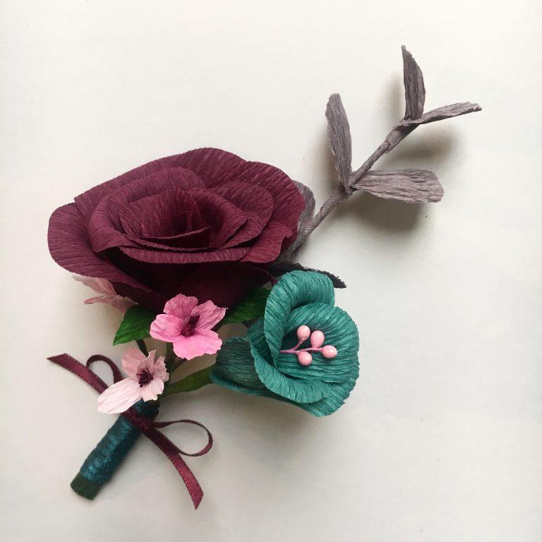 paper flowers, buttonhole, paper buttonhole, paper rose