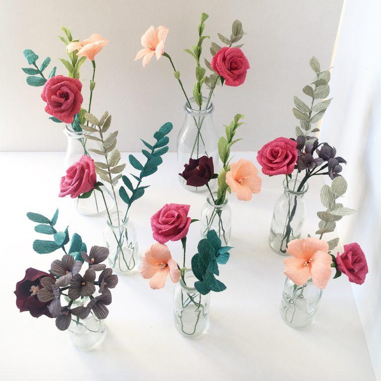 paper flowers, table flowers, wedding flowers, paper wedding flowers, creative wedding