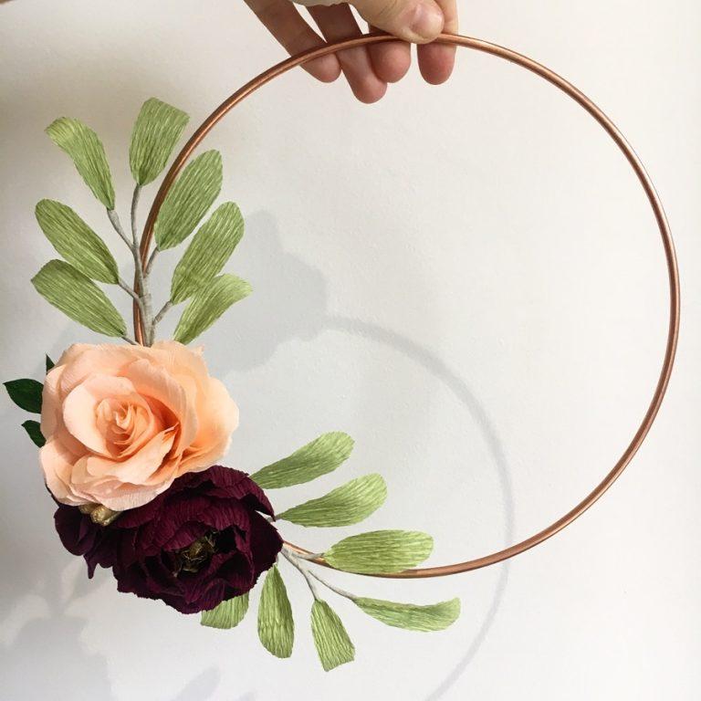 paper flowers, wedding flowers, paper bouquet, floral hoop, flower wreath