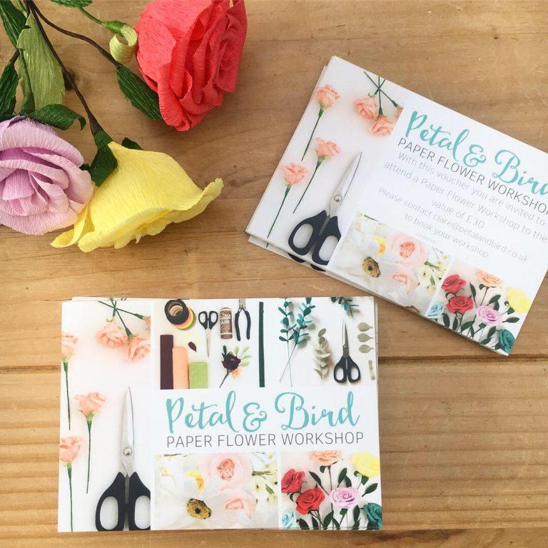 PAPER FLOWER WORKSHOP, PETALA DN BIRD, PAPER FLOWERS, GIFT VOUCHER