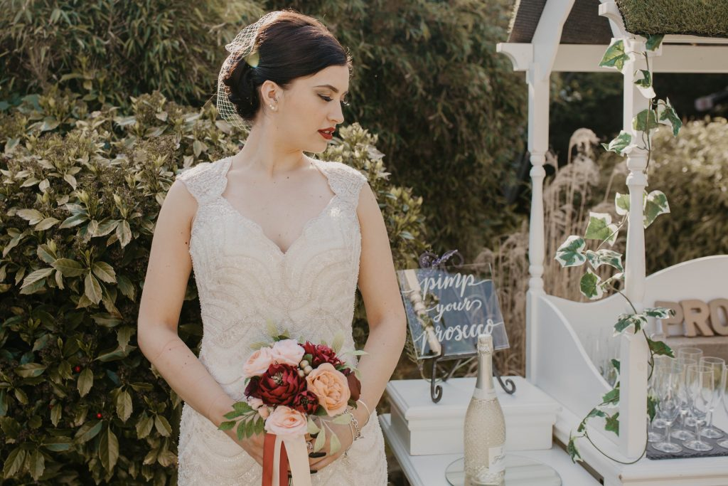bridal bouquet in garden glamour styled shoot