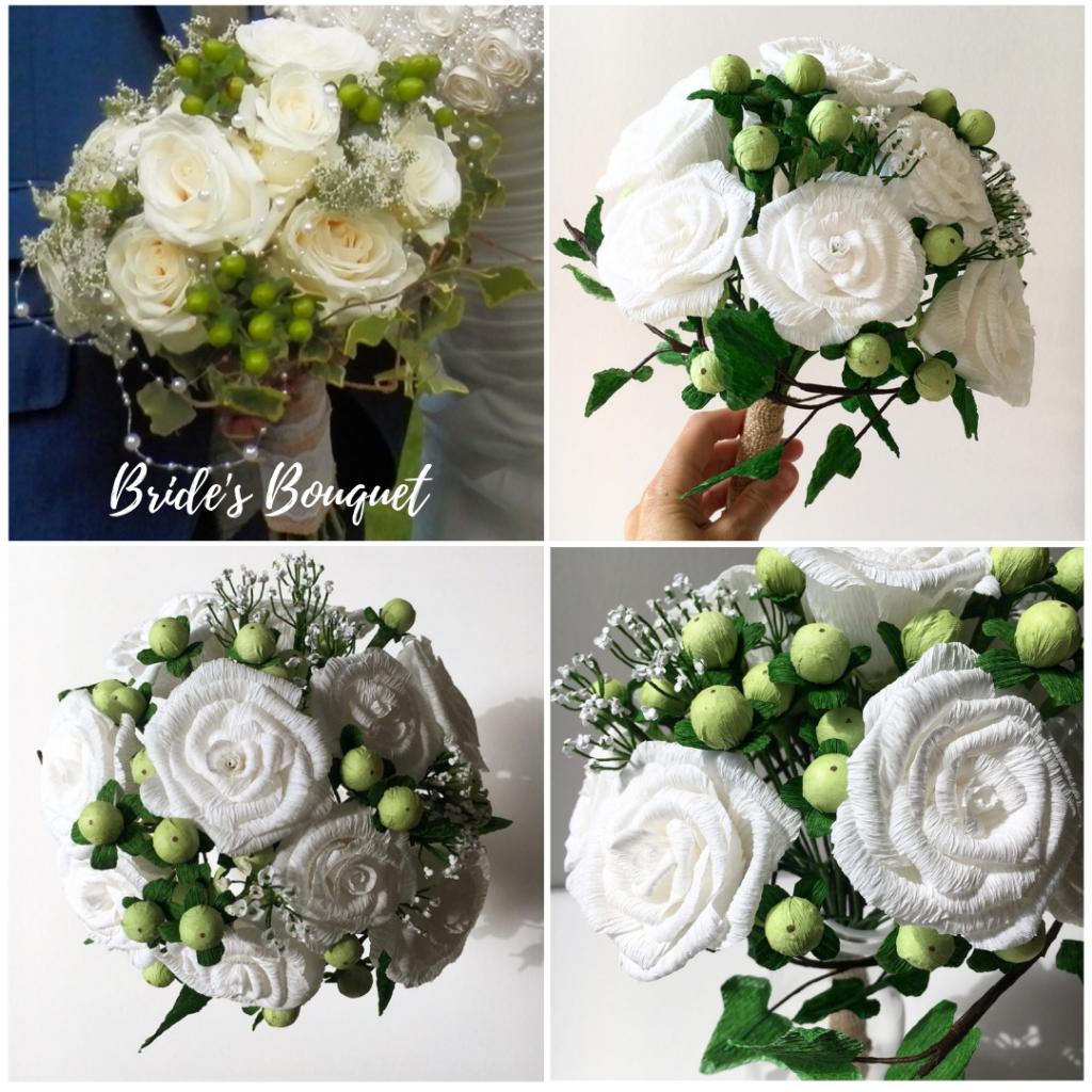 Wedding Bouquet Recreation, paper flower bouquet, bouquet recreations, bouquet replica, paper bouquet, anniversary gift