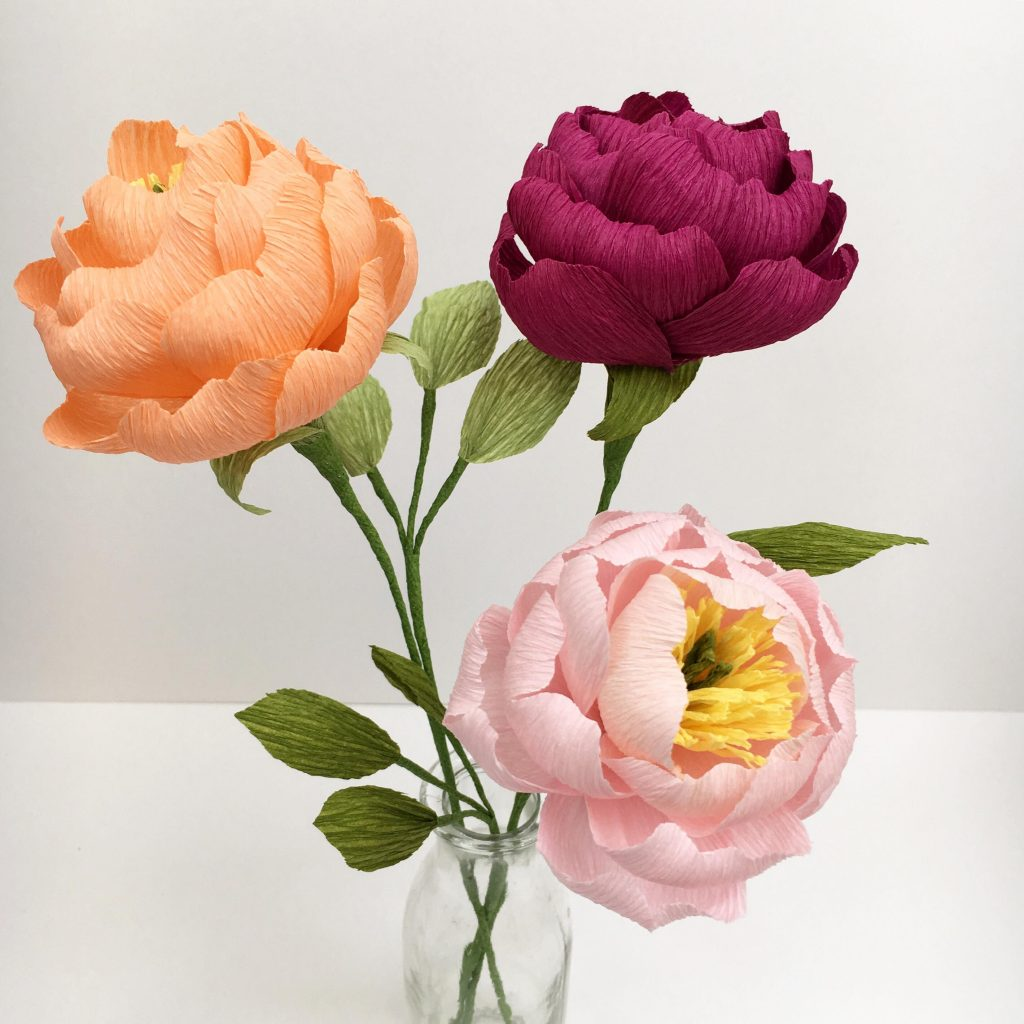 paper peonies, paper flowers, petal and bird, peonies