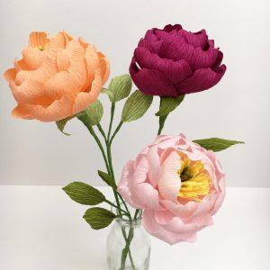 paper peonies, paper flowers, petal and bird, peonies