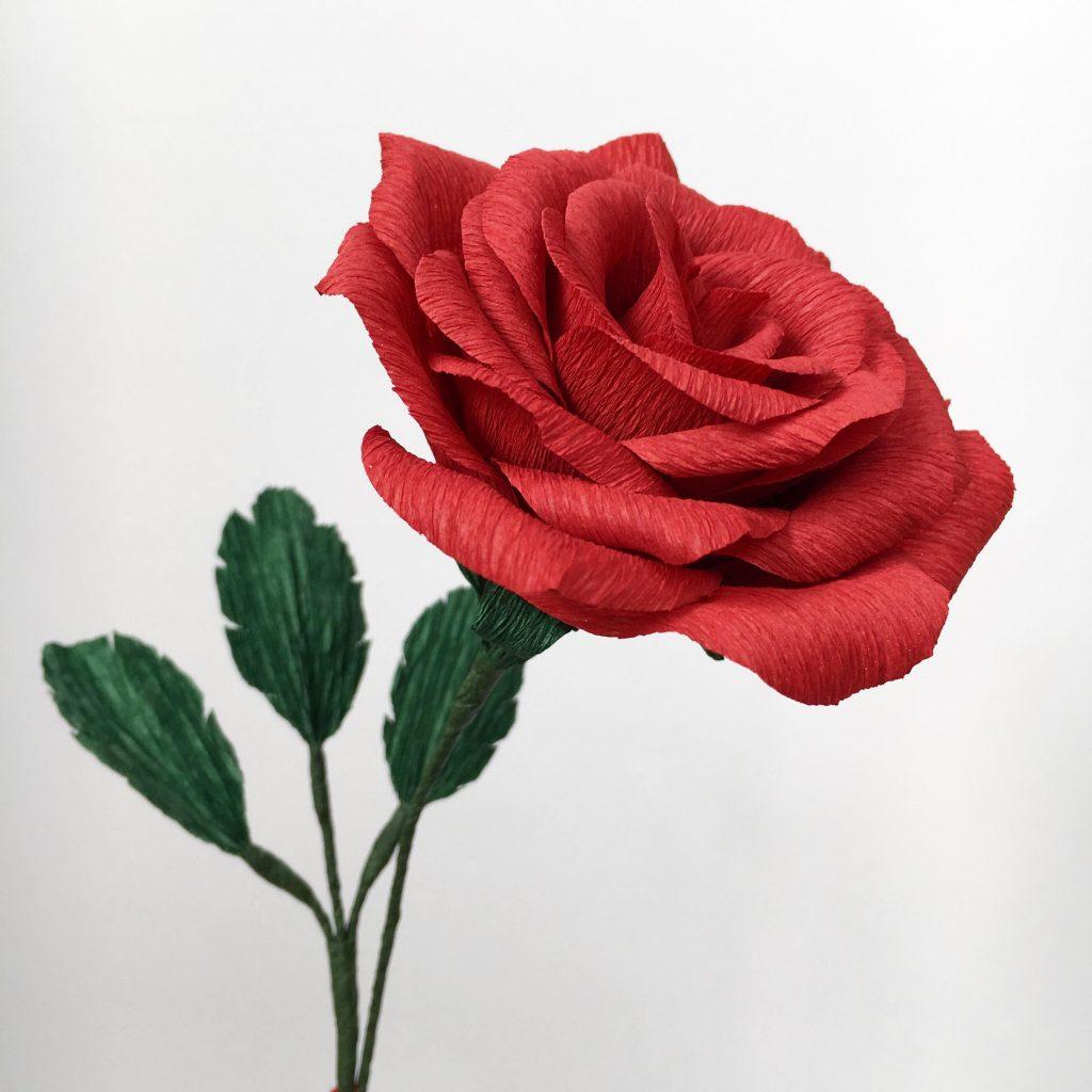 paper rose, single stem rose, paper flower