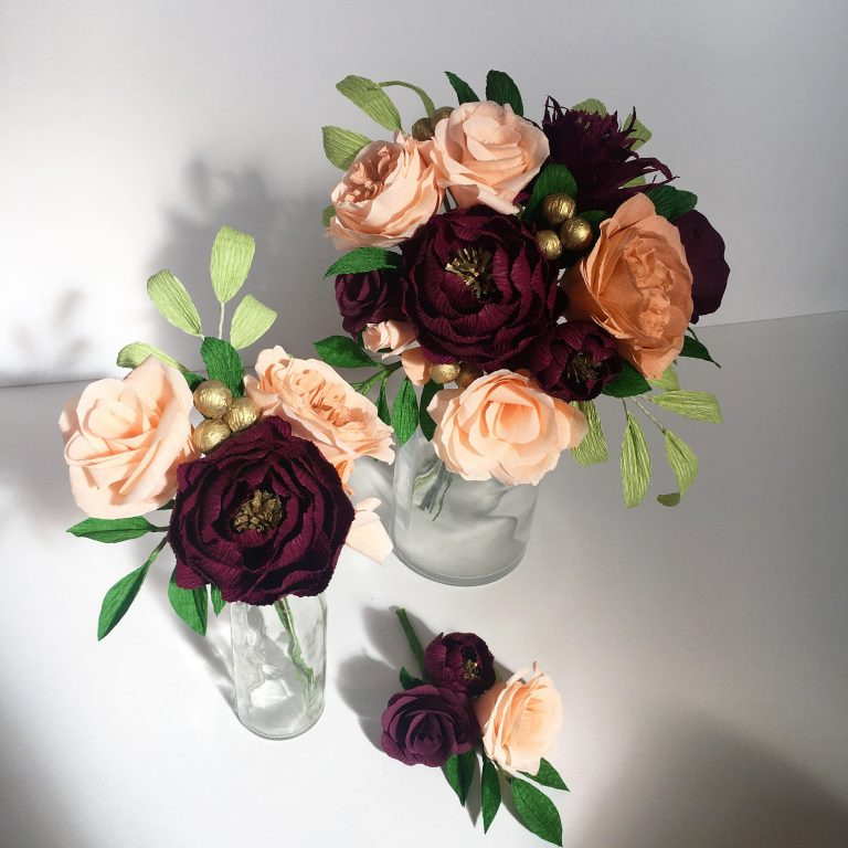 burgundy and peach paper wedding flowers