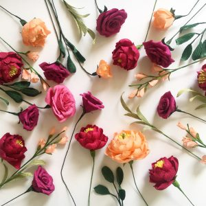 paper flowers by petal and bird