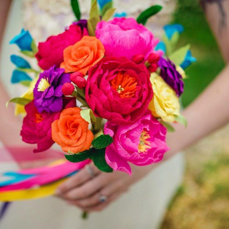 paper rainbow wedding bouquet