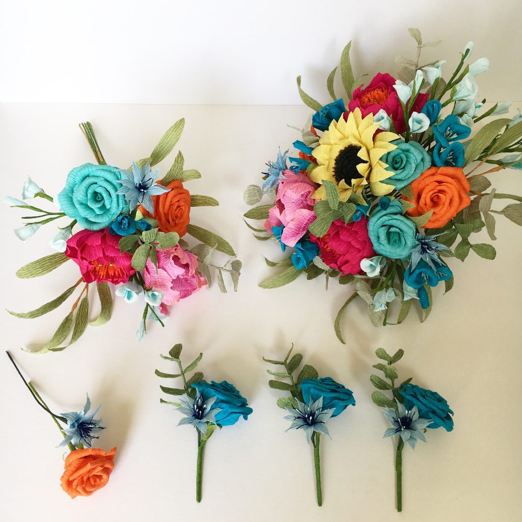 Colourful Paper Wedding Flowers by Petal and Bird