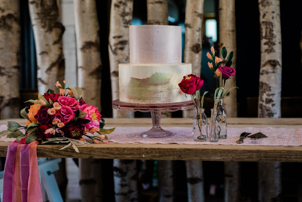 wedding cake and paper flowers