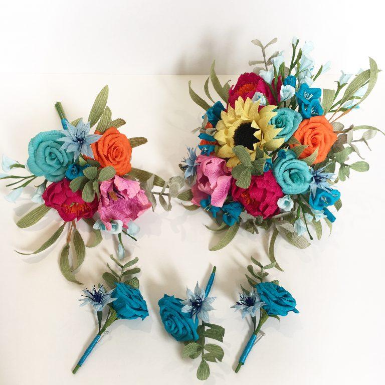 rainbow themes paper wedding flowers