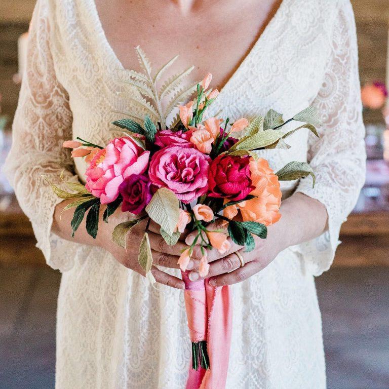 Paper Wedding bouquet held by bride