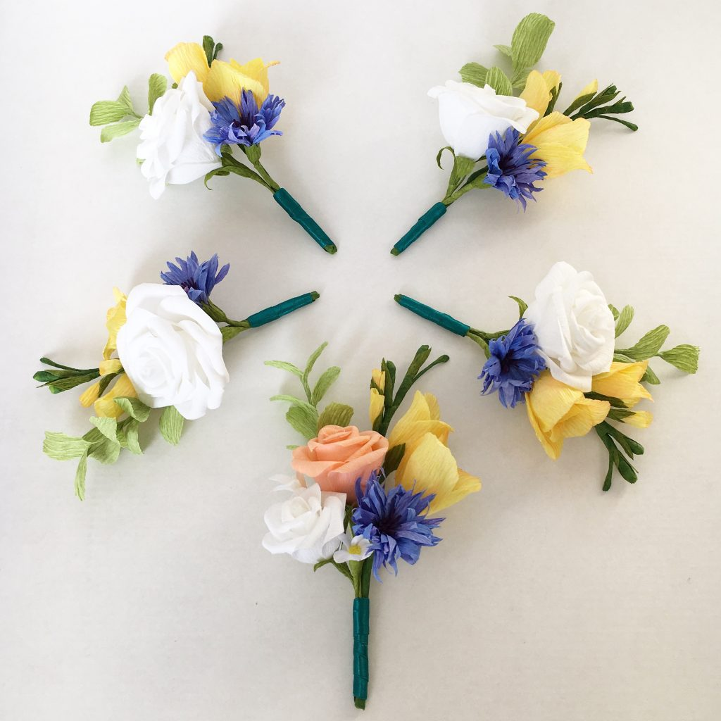 Paper buttonholes by Petal and Bird Paper Florist destination wedding flowers