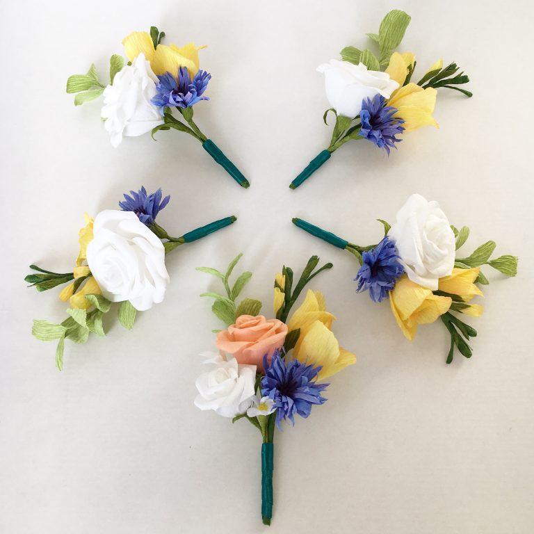 Paper buttonholes by Petal and Bird Paper Florist