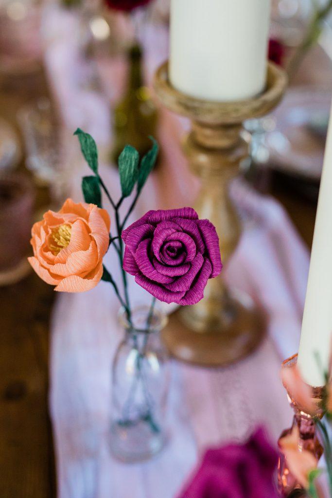paper flowers in vase