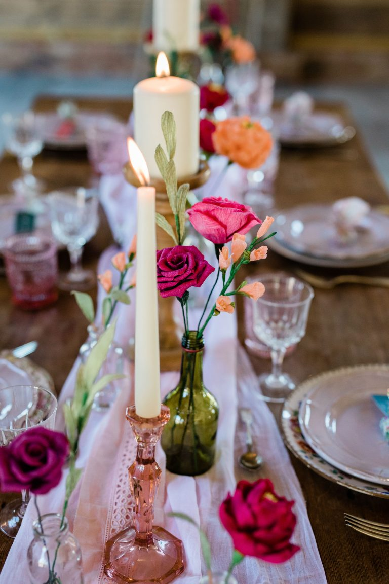paper flowers on table setting