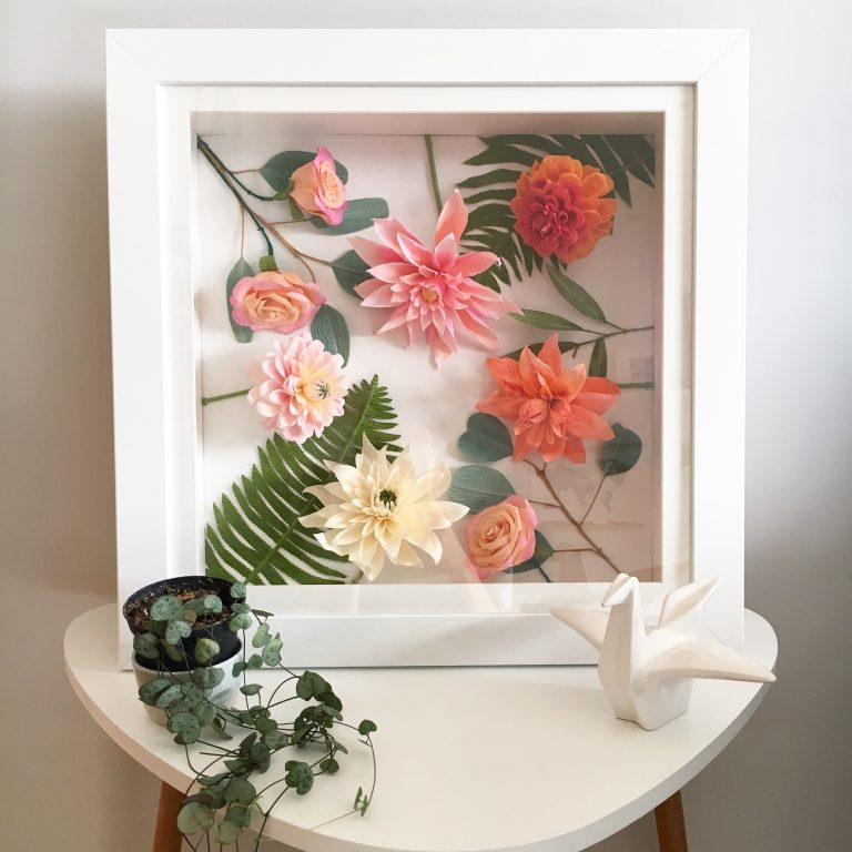 Framed Paper flowers by Petal and Bird