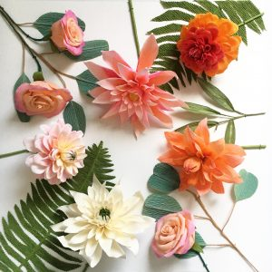 Paper Flower falt lay by Petal and Bird