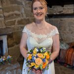 Real bride with paper bouquet designation wedding