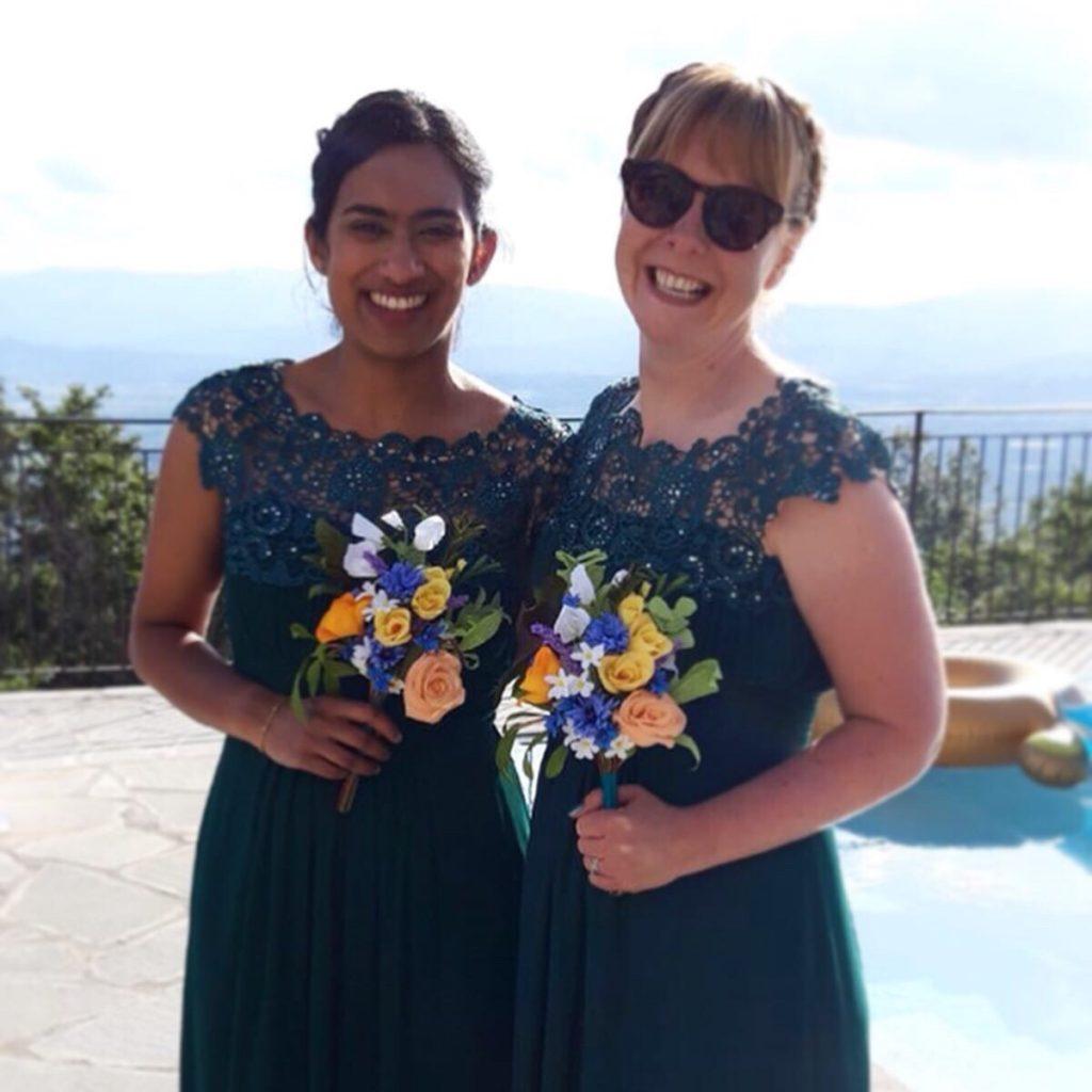 bridesmaids with paper bouquet desitnation wedding
