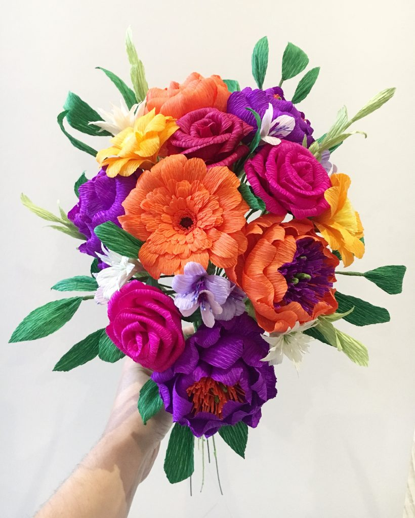 Colourful wedding flower bouquet