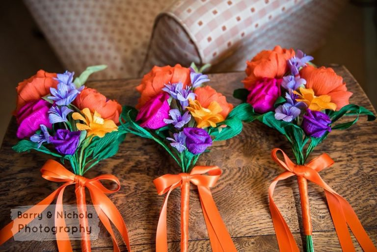 bridesmaids colourful paper bouquets