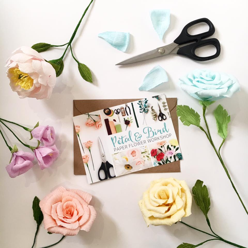 Paper Flower Workshop Gift VOucher with Petal and Bird