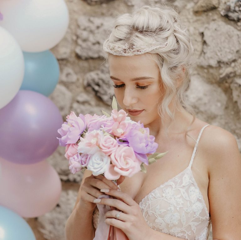 Bride with Petal and Bird paper wedding flowers