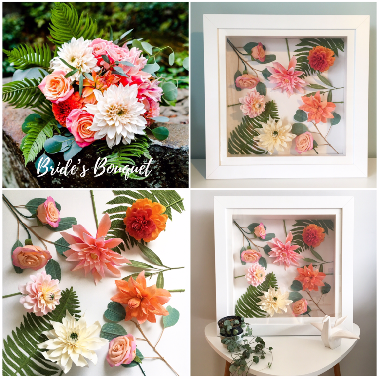 Brides Bouquet recreation framed paper flowers