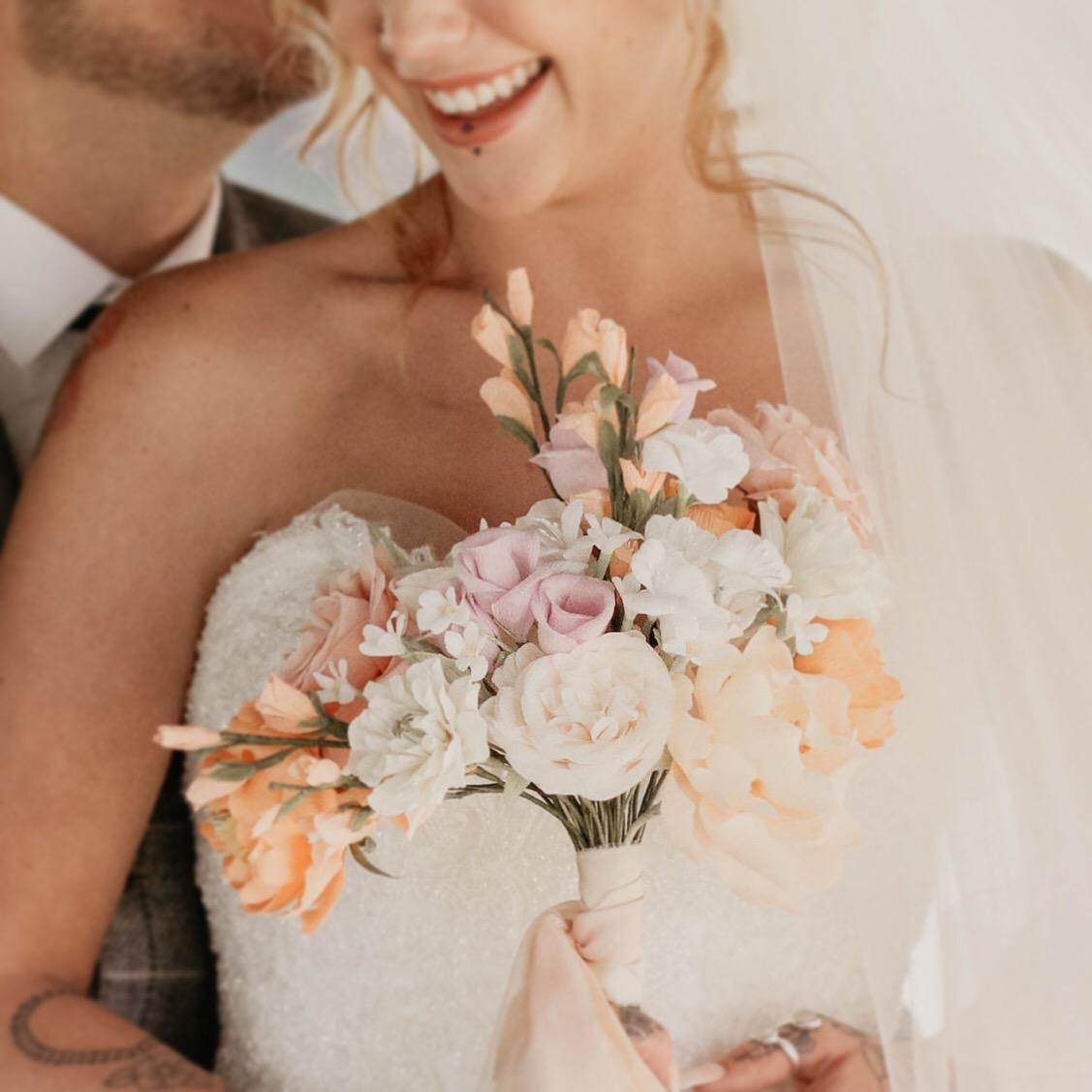Petal and Bird paper wedding flowers Bride