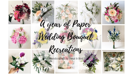 a year of paper wedding bouquet recreations