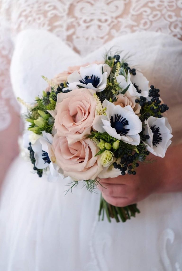 Wedding bouquet with real and paper flowers