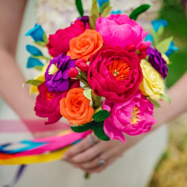 colourful paper wedding flowers Petal and Bird