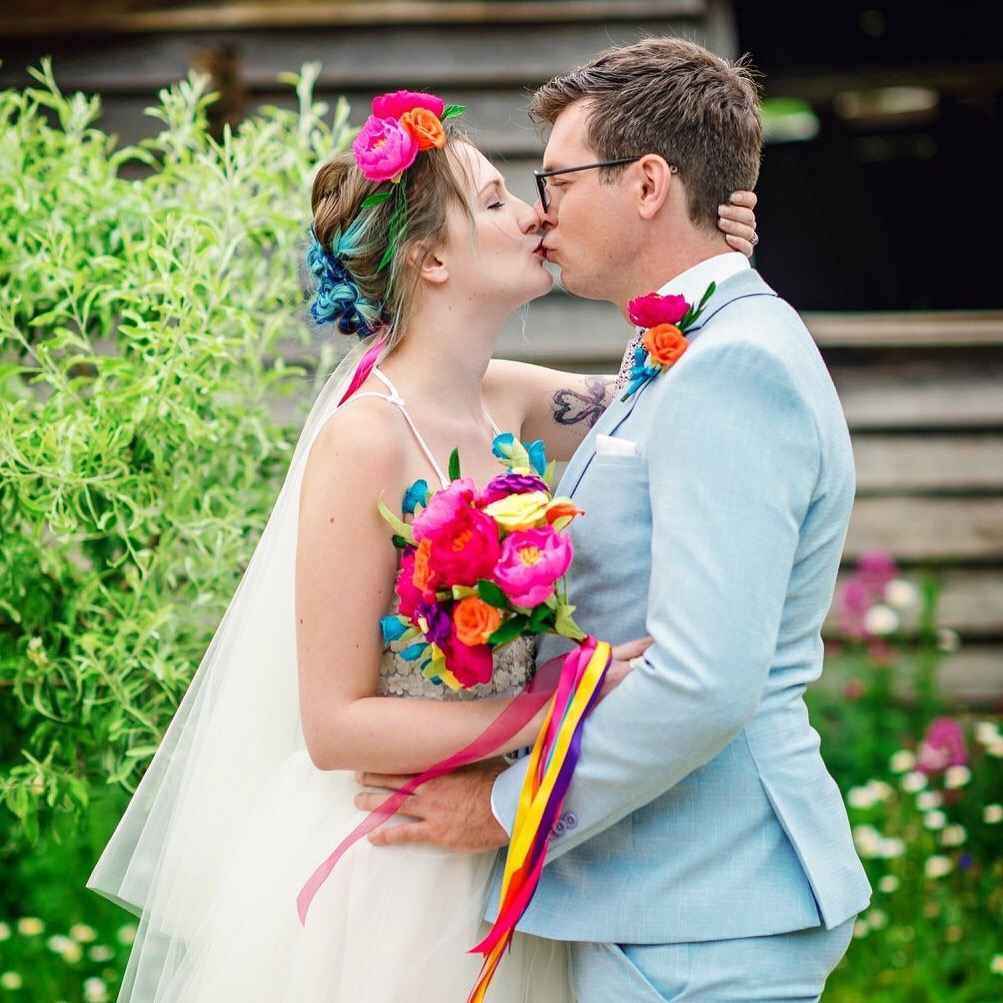 colourful paper wedding flowers
