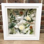 framed paper flowers for first wedding anniversary