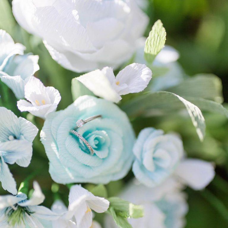 paper wedding flowers blue flowers