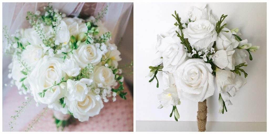 Paper roses and fressia bouquet