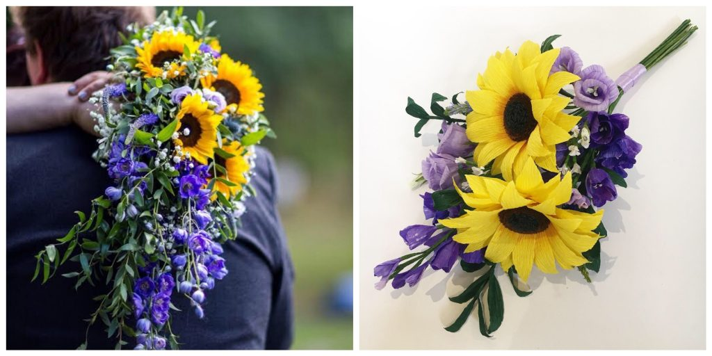 yellow and purple paper bouquet