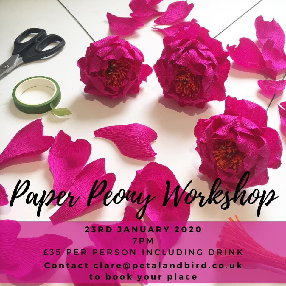 paper peony workshop with petal and bird paper florist