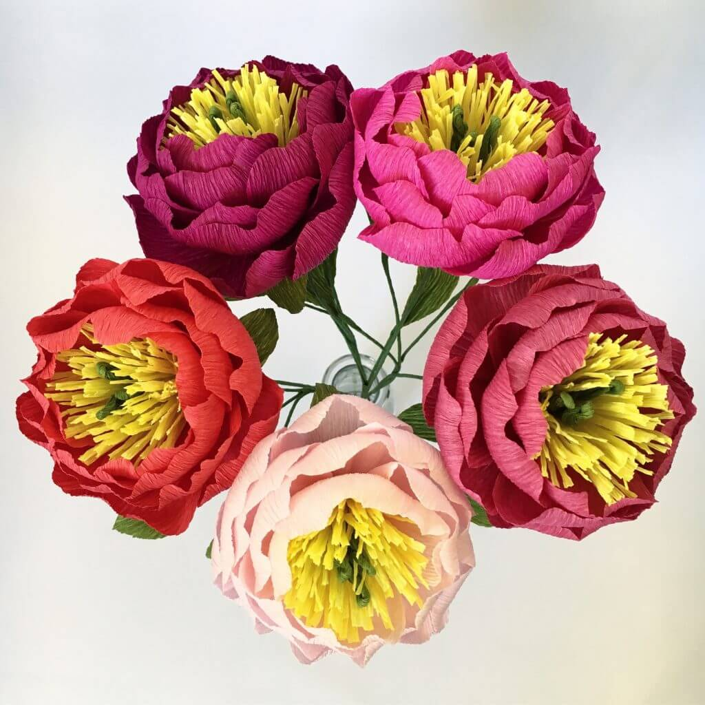 Petal and Bird Paper Peonies