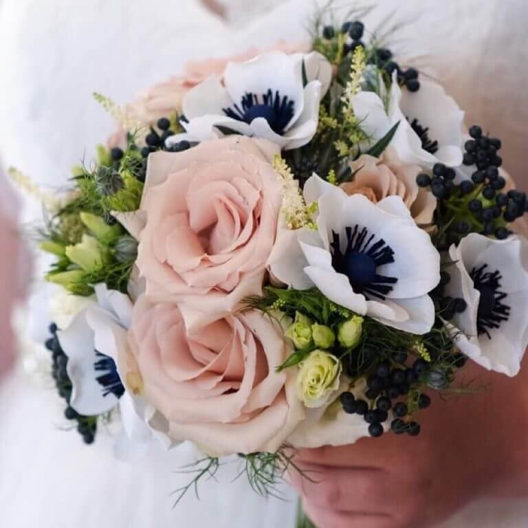 Paper anemones with real flowers