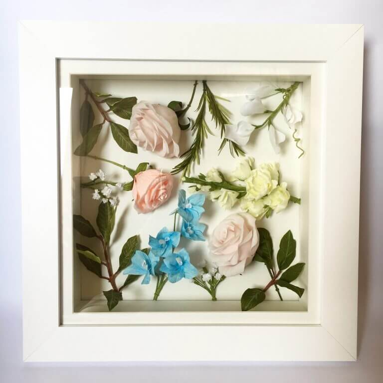 Framed paper wedding flowers