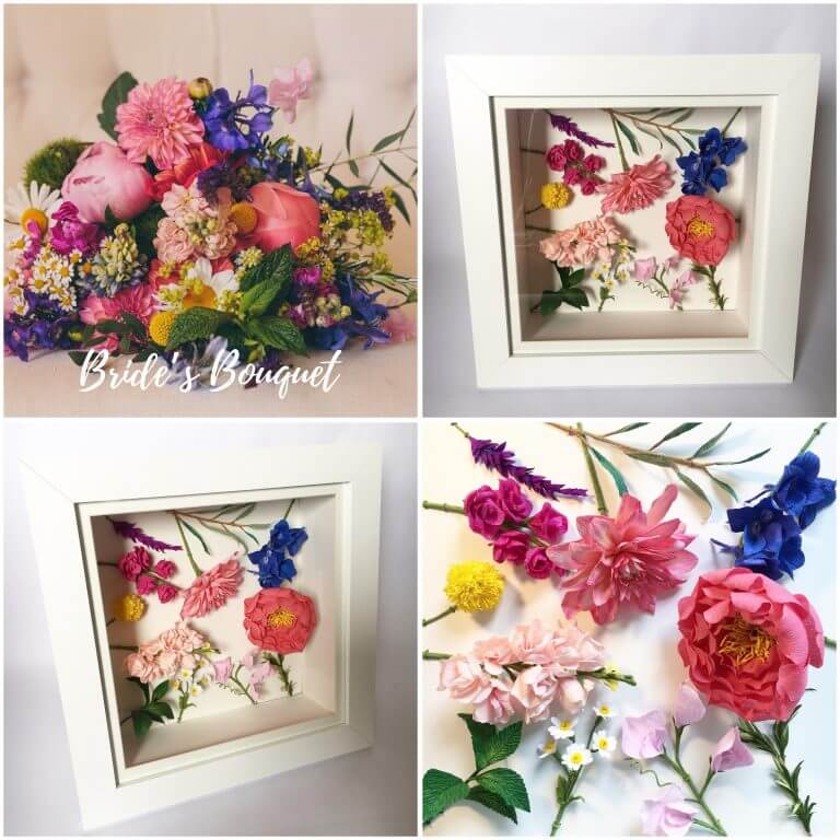 Framed wedding flowers by Petal and Bird
