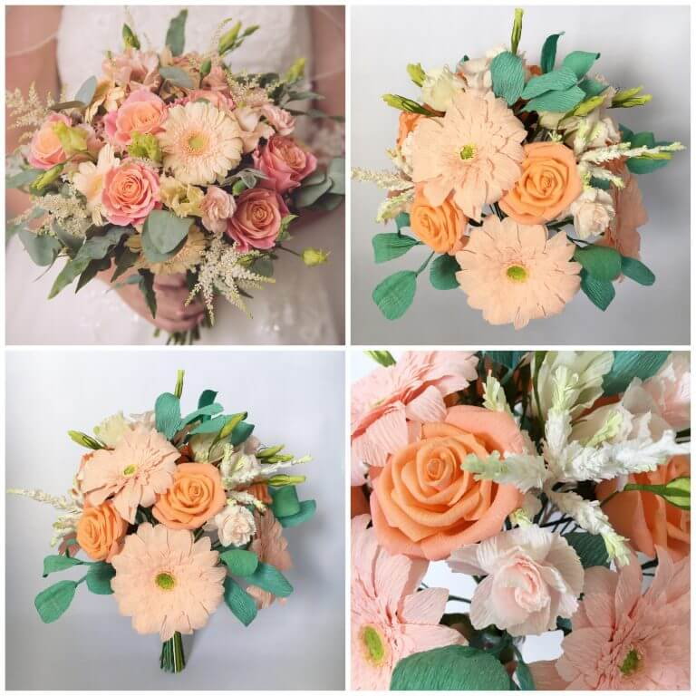 wedding bouquet recreated from paper
