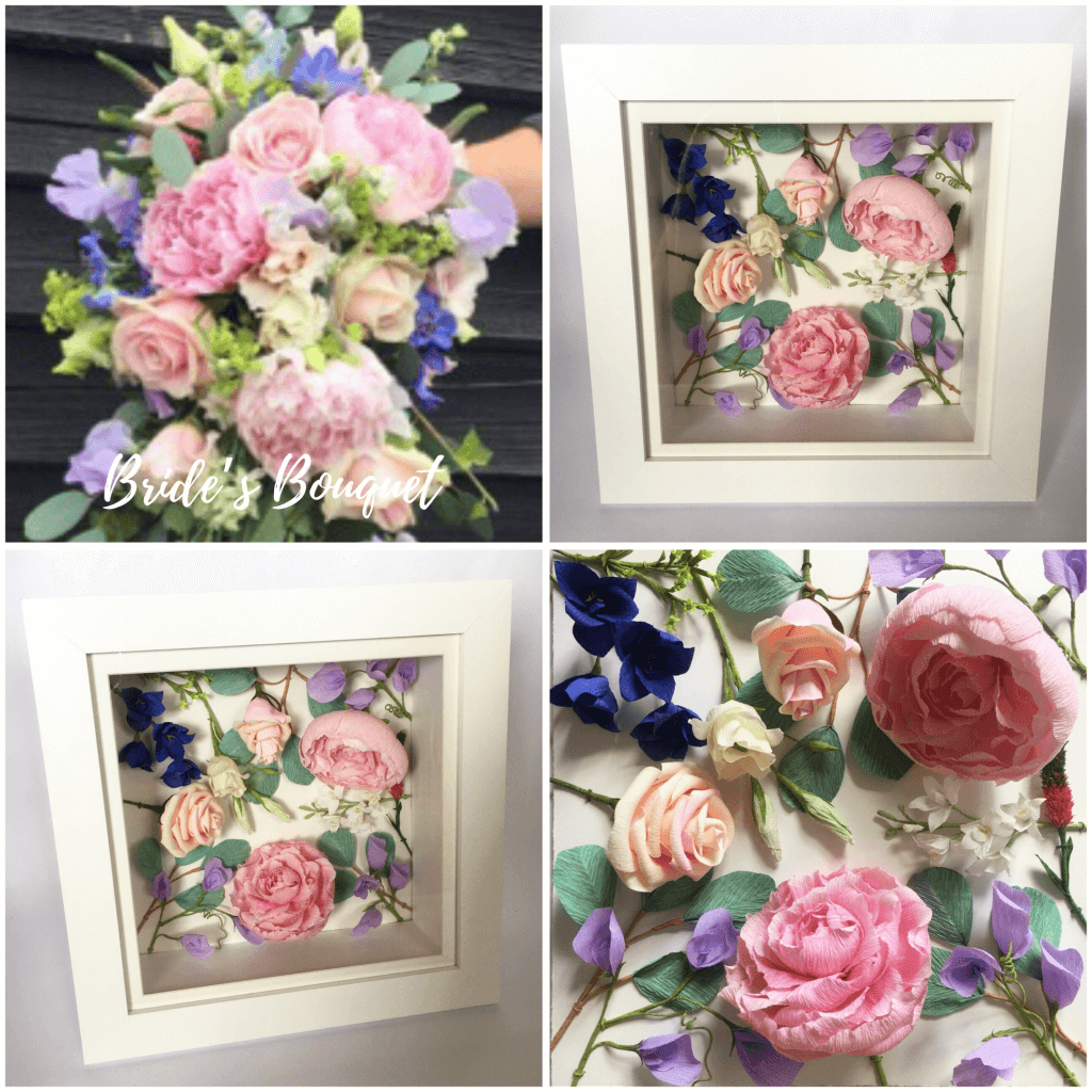 Framed paper flowers for wedding anniversary gift