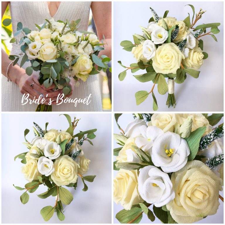 Cream paper wedding bouquet
